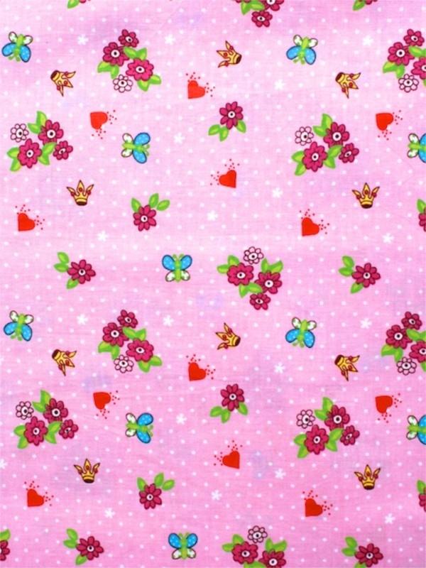 Roze stof met stip, hart, bloem & vlinder