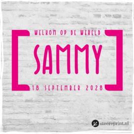 Geboorteraamsticker Sammy