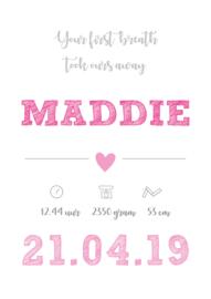 Geboorteposter Maddie