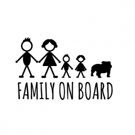 Family on board Autosticker Engelse bull