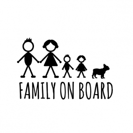Family on board Autosticker Franse bull