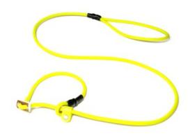 Biothane moxon 8mm - 130cm met geweistop neon geel