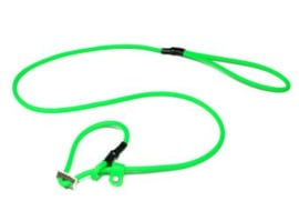 Biothane moxon 8mm - 130cm met geweistop neon groen