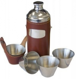 Jachtfles  - bruin leder - set van 4 cups