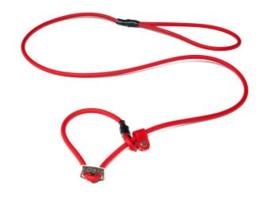 Biothane moxon 8mm - 130cm met geweistop rood