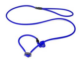 Biothane moxon 8mm - 130cm met geweistop blauw