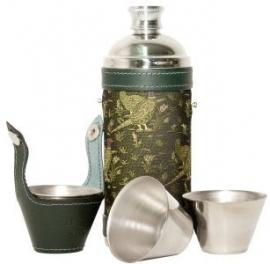 Jachtfles  -  leder met fazantmotief - set van 4 cups