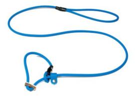 Biothane moxon 8mm - 130cm met geweistop lichtblauw