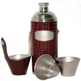 Jachtfles  - bruin  croc leder - set van 4 cups