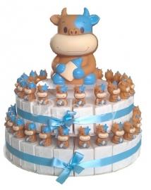 geboorte taart met magneetjes en spaarpot blauw of roze