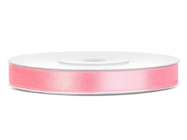 Satijn Lint licht roze in 12 mm breed