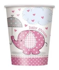 Babyshower Bekers 8 stuks olifant roze