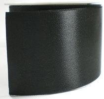 Satijn lint 7 cm breed, zwart, 25 meter