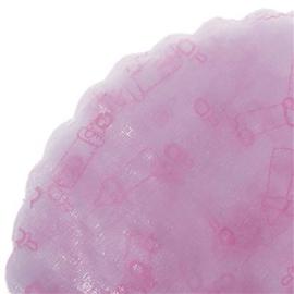 Tule rond met roze bedrukking speen en papfles