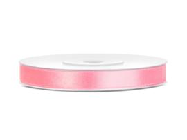 Satijn Lint - Licht Roze - 6 mm - 25 meter