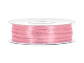 Satijn Lint - Licht Roze - 3 mm - 50 meter