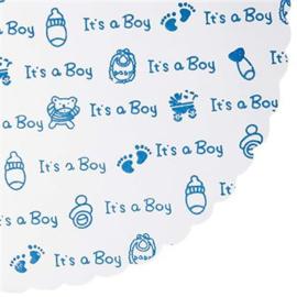 Tule rond met blauw bedrukking it's a Boy
