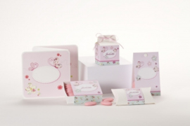 Geboortebedankjes kubus met bloemen