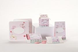 Geboortebedankjes snoepzakje met bloemen roze