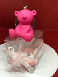 Geboortebedankje Beertje stippel sleutelhanger met transparante kubus