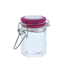 Glazen weckpotje met ijzeren sluiting, fuchsia
