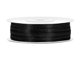 Satijn Lint 3 mm, Zwart