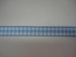 Geruit Lint licht blauw, 6 mm