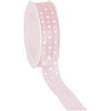 Organza Lint Roze met stippen, 25 mm