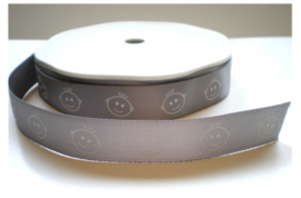 Satijn Lint met baby, grijs, 16 mm