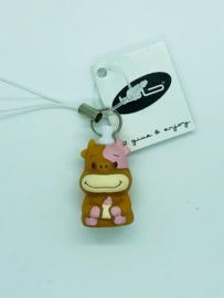 Mini sleutelhanger Koe roze