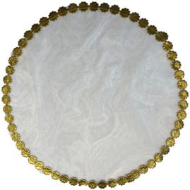 Tule rond met blinkend gouden bloemenrandje 24 cm