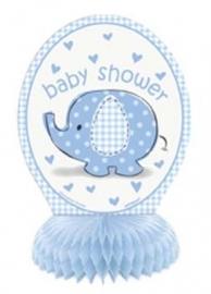 Babyshower Tafelversiering olifant blauw 4 stuks