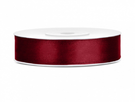 Satijn Lint - Bordeaux Rood - 12 mm - 25 meter