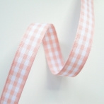 Geruit Lint zacht roze, 6 mm