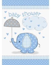 Babyshower Uitnodigingen 8 stuks olifant blauw