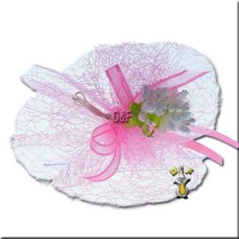 Tule opengewerkt fuchsia of Baby rose
