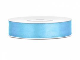 Satijn Lint - Licht Blauw - 12 mm - 25 meter