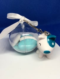 Geboortebedankjes Sleutelhanger Hondje Pitty met plexi bol