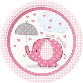 Babyshower Bordje 22 cm 8 stuks olifant roze