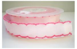 Satijn Lint met roze rand, 16 mm