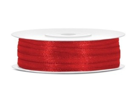 Satijn Lint 3 mm, Rood