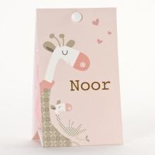 Geboortebedankjes snoepzakje giraf roze