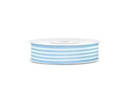 Grosgrain Lint - Licht Blauw/Wit - 18 mm - 10 meter