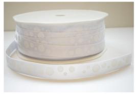 Satijn Lint met stippen, wit, 10 mm