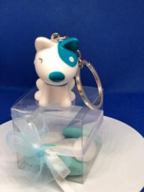 Geboortebedankjes Pitty sleutelhanger met transparante kubus
