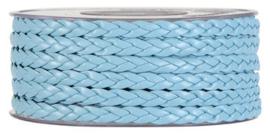 Gevlochten Lint leather twist, licht blauw, 7 mm