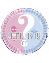 Helium Folieballon 45 cm Gender reveal party