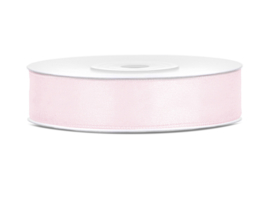Satijn Lint - Light Powder Pink - 12 mm - 25 meter