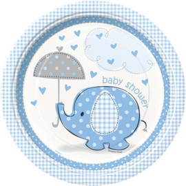 Babyshower Bordje 22 cm 8 stuks olifant blauw