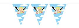 Geboorteversiering Slinger ooievaar 10 meter blauw